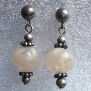 Vintage sterling rose quartz earrings